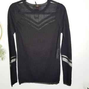 Maje Tibi Black Sheer Decolletage Sweater NEW
